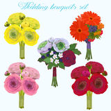 Huwelijks mooi boeket met rozen en andere reeks van de bloemeninzameling vector illustratie