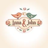 Huwelijks uitstekend kenteken in retro ontwerp met Royalty-vrije Stock Foto's