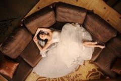 Huwelijksboeket in mand Stock Afbeelding