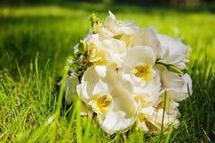 Huwelijksboeket met witte orchideeën Stock Foto's