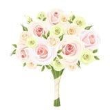 Huwelijksboeket van roze, witte en groene rozen Vector illustratie Stock Afbeelding
