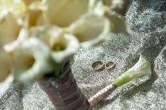 Huwelijksboeket, Witte Calla Moeraspalustris, Moerasaronskelk, water-AR stock afbeeldingen