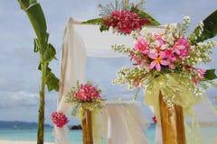 Huwelijksboog en opstelling Stock Foto's