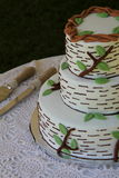 Huwelijkscake en dienende werktuigen Stock Afbeeldingen