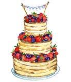 Huwelijkscake met bessen Royalty-vrije Stock Foto's