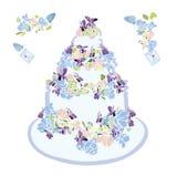 Huwelijkscake met bloem en vlinder vector illustratie