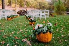 Huwelijksceremonie met de herfstpompoenen Royalty-vrije Stock Foto