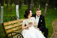 Huwelijksdag: de mooie bruid en de bruidegom zitten op de bank in het park Stock Foto