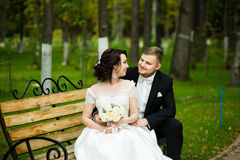 Huwelijksdag: de mooie bruid en de bruidegom zitten op de bank in het park Stock Afbeeldingen