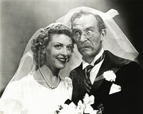 Huwelijksdag hijinks royalty-vrije stock foto