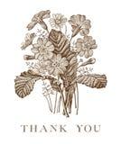 Huwelijksdank en uitnodiging Van het de kaartkader van PrÃmula van kamille Mooie realistische bloemen Vector de gravure victorian Stock Fotografie