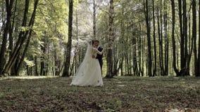Huwelijksdans van de bruid en de bruidegom in het hout stock footage