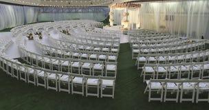 Huwelijksdecoratie op terras Stock Foto