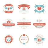 Huwelijksemblemen en geplaatste de elementen van het van de kentekensvector en ontwerp Stock Foto's