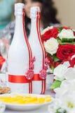 Huwelijksflessen champagne Stock Afbeelding