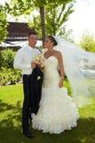 Huwelijksfoto van gelukkig paar Stock Foto