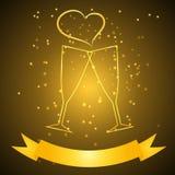 Huwelijksglazen met lint in gouden kleur Royalty-vrije Stock Afbeelding