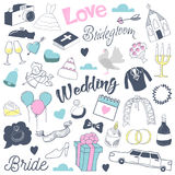 Huwelijkshand uit de vrije hand Getrokken Krabbel met Bruid, Harten en Romantische Elementen Liefde en Romaans Royalty-vrije Stock Fotografie