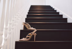 Huwelijkshielen/Schoenen op Treden Stock Fotografie
