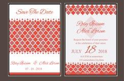 Huwelijkskaart of banner met tekstmalplaatje Stock Afbeelding