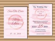 Huwelijkskaart of banner met tekstmalplaatje Stock Foto