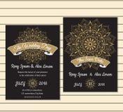 Huwelijkskaart of banner met tekstmalplaatje Rond bloemen vectoro Stock Afbeelding