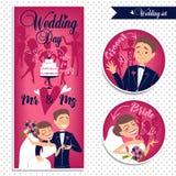 Huwelijkskaart en stickers Royalty-vrije Stock Fotografie