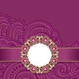 Huwelijkskaart met gouden juwelendecoratie Stock Afbeeldingen