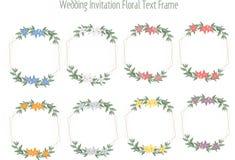 Huwelijkskaarten, huwelijksuitnodigingen of bloemenberichtkaders stock illustratie