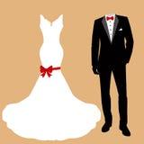 Huwelijkskleding en smoking stock illustratie