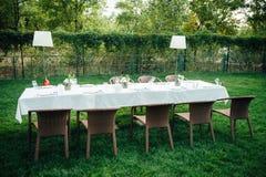Huwelijkslijst voor diner met decoratie Royalty-vrije Stock Foto