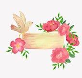 Huwelijksmalplaatje met vogel, ringen en bloemen vector illustratie