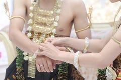 Huwelijksoptocht op het gebied van Java Indonesia Royalty-vrije Stock Foto's