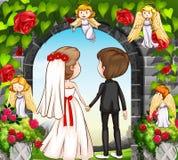 Huwelijkspaar bij de roze tuin stock illustratie