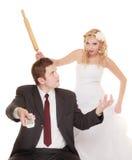 Huwelijkspaar dat argumentconflict, slechte verhoudingen heeft stock afbeeldingen
