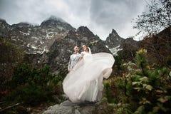 Huwelijkspaar die dichtbij het meer in Tatra-bergen in Polen lopen Morskie Oko De mooie Dag van de Zomer stock fotografie