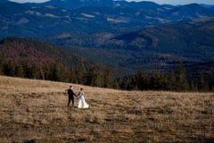 Huwelijkspaar die op het gebied lopen De fascinerende achtergrond van het berglandschap Stock Foto's