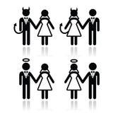 Huwelijkspaar - duivel en de pictogrammen van de van de engelenbruid en bruidegom stock illustratie