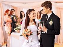 Huwelijkspaar en gasten die champagne drinken. Stock Fotografie