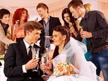 Huwelijkspaar en gasten die champagne drinken Royalty-vrije Stock Foto's