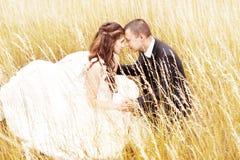 Huwelijkspaar in gras. Bruid en bruidegom in openlucht Royalty-vrije Stock Foto