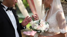 Huwelijkspaar op ceremonie buiten Mooie bruid en knappe bruidegom Enkel gehuwd stock footage