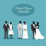 Huwelijksparen in Silhouets Stock Foto's