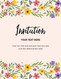 Huwelijkspartij en de Kaartmalplaatje van de Verjaardagsuitnodiging Kleurrijk Bloemenillustratie Vector Creatief Ontwerp Royalty-vrije Stock Afbeeldingen