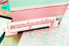 Huwelijksphotozone in een suikergoedstijl Candywedding Stock Foto's