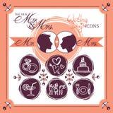 Huwelijkspictogrammen Royalty-vrije Stock Afbeeldingen