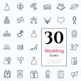 30 huwelijkspictogrammen Stock Fotografie