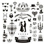Huwelijkspictogrammen en elementen Stock Afbeelding