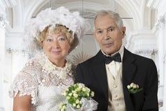 Huwelijksportret van een bejaard paar Royalty-vrije Stock Afbeelding