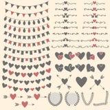 Huwelijksreeks van harten, pijlen, slingers, laurier, kronen en laboratorium royalty-vrije illustratie